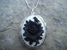 (LOCKET)STUNNING BLACK ROSE ON WHITE CAMEO LOCKET-- wedding-- rockabilly- goth