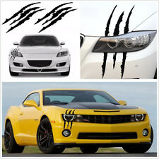 2X Black Vinyl Eye Catching Claw Marks Decal Sticker Waterproof For Car Headlamp