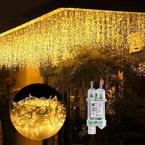 LED Lichterkette 5/10/15m Eisregen Warmweiß Lichtervorhang mit Speicherfunktion