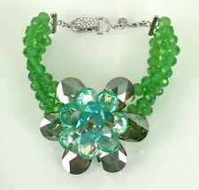 Butler & Wilson Natural Crystals Triple Strand Single Flower Bracelet GREEN