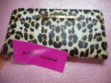 Betsey Johnson LEOPARD PRINT GOLD, BROWN AND RED  Wallet Sharp- NEW WITH TAGS