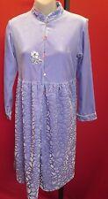 ~~ROBERTA di CAMERINO Vtg Lavender Floral Velvet Burnout Signed Dress Sz M~~