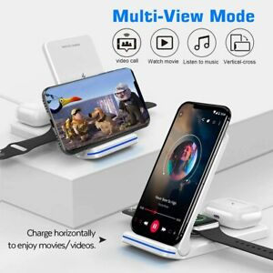 For iPhone 12 11 Pro Max 3in1 Wireless Fast Charger Charging Stand Station White
