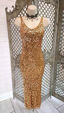 🌹TOPSHOP 🌹VINTAGE GOLD SEQUIN CROCHET STRETCH MAXI DRESS 8 GOWN 90's DIVA GLAM