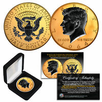 1964 BU Silver JFK Half Dollar 2-Sided 24K GOLD & Black Ruthenium Detail w/BOX