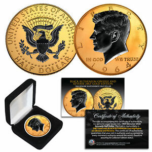 1964 BU Silver JFK Half Dollar 2-Sided 24K GOLD & Black Ruthenium Detail w/BOX