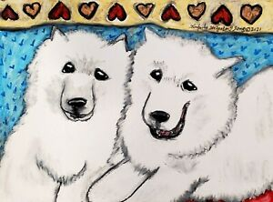 SAMOYED Furever Friends 11 x 14 ART PRINT of PAINTING BY Kimberly Helgeson Sams