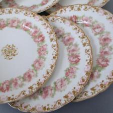 """6 Antique HAVILAND Porcelain 10"""" Plates Drop PINK ROSES Gilt Trim Schleiger 55i"""