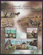 Botswana 2007 SAPOA National Animals Mini-Sheet, MNH (Zebra, Buffalo)