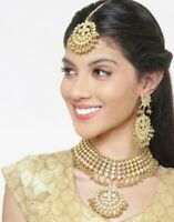 Indian Bollywood Bridal Golden Pearl Necklace Earring Maang Tika Fashion Jewelry