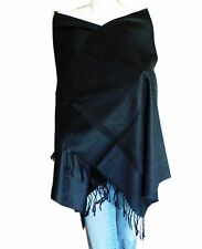 Soft New Pashmina Paisley Floral Silk Wool Scarf Wrap Shawl-Black
