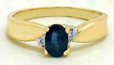 NATURAL BLUE SAPPHIRE & DIAMONDS 14k Solid Gold Ring *FREE SHIPPING & RE-SIZING*