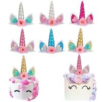 Birthday Cake Topper Gold/Silver Unicorn Horn& Ear Set Party Decoration Top