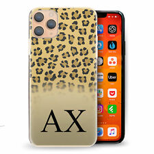 Personalised Initial Phone Case, Yellow Leopard Print Hard Cover with Name