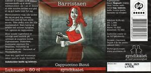 Danish Micro Brewery Beer Label Syndikatet - Barristaen Cappucino Stout