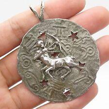 Vtg 925 Sterling Silver Sagittarius Zodiac Sign Large Handmade Pendant