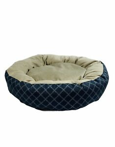 """R2P Pet Small Dog or Cat Round 15"""" Blue Tan Super Soft Pillow Pet Bed"""