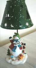 """Joy"" Snowman Christmas/Holiday Tealight Candle Holder with  Metal Shade"