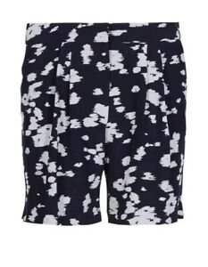 MARKS AND SPENCER AUTOGRAPH INK SPOT SHORTS SIZE 10 NAVY MIX BNWT