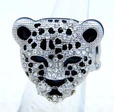Large Silver Tone Clear Rhinestone Black Enamel Cheetah Elastic Band Ring