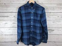 Polo Ralph Lauren Mens Blue Plaid Flannel L/S Button Down Shirt Size Small NWT