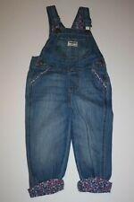 New OshKosh Girls Denim Blue Jean Floral Cuff Overalls 2T...