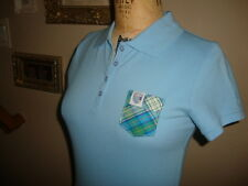 Frat Frocket Light Blue  Plaid  Pocket Fitted Women's Polo Shirt NWOT M
