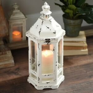 Distressed Old Ivory Lantern traditional shape gives your home an antique look.