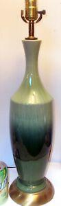 Mid Century Modern GREEN DRIP GLAZE CERAMIC LAMP