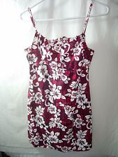 WOMENS JUNIORS RED BLACK WHITE COTTON HAWAIIAN ISLAND SHORT DRESS SIZE M 7/8 34