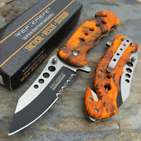 TAC-FORCE Serrated Blade Orange Camo Tactical Hunting Rescue Pocket Knife