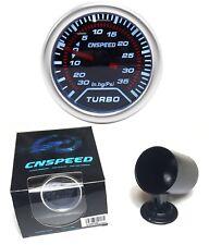 """52 mm 2"""" ahumado Dial Turbo Boost Gauge & Pod 35 PSI de presión blanca luz posterior"""