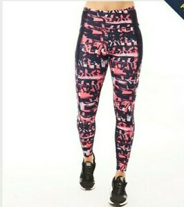 PUMA Women's Large Be Bold All Over Print Tights Leggings Pink Black pockets L