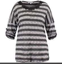 Ladies Rosemarine Black Grey Glitter Stripe See-through Top Sweater Size 22