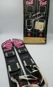 Kneissl Big Foot Snow Blades Ski Board & Bindings in Original Box 90s Black Pink
