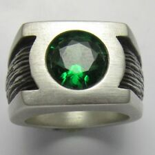 MJG STERLING SILVER GREEN LANTERN RING.10mm CZ. JUSTICE LEAGUE. COMIC CON. SZ 11