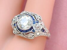 ART DECO 1.60ct EUROPEAN DIAMOND SAPPHIRE PLATINUM ENGAGEMENT COCKTAIL RING