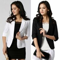 Women Fashion One Button 3/4 Sleeve OL Slim Fitted Short Blazer Coat Jacket Suit