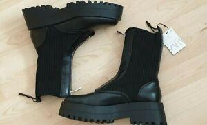 ZARA  FLAT SOCK ANKLE BOOTS WITH ZIP BLACK NEW SIZES UK 7&8 EU 40&41