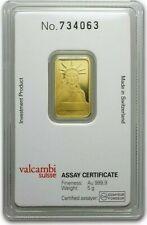 5 GRAMS - PURE GOLD BAR - CREDIT SUISSE - STATUE of LIBERTY BAR - ASSAY - $9.99