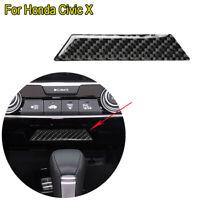 Real Carbon Fiber Central Storage Box Decorative Trim For Honda Civic X 2016-19