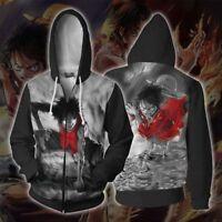 ONE PIECE Monkey D. Luffy Cosplay Winter Coat Hooded Jacket Long Sleeve #HJ44
