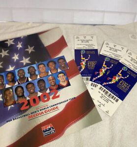 USA Basketball 2002 World Championship Team Official Media Guide & 3 TICKETS 🔥