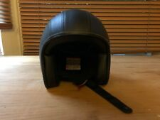 L Large M2R Cafe Racer Retro 225 Leather open face motorbike helmet with Peak