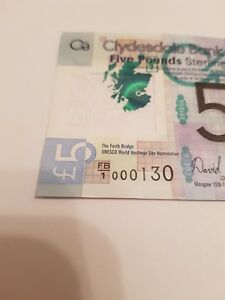 """FB1 000130 CLYDESDALE BANK £5 POLYMER UNCIRCULATED, MINT VERY LOW SERIAL """"130"""""""