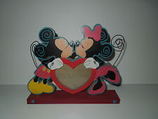 NEW! Disney Store Mickey & Minnie Kiss Colorful 3 Photo Heart Frame / Holder