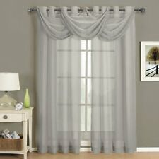 Luxury Abri Gray-Silver Grommet Crushed Sheer Curtain, 50x63 inches
