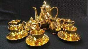 RETRO VINTAGE GOLD PORCELAIN 13 PIECE COFFEE TEA SET JAPAN