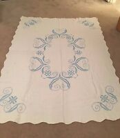 Vintage CROSS STITCH in blue linen tablecloth bed cover colonial cottage so soft