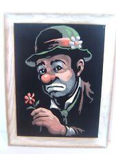 """Vintage Framed Sad Clown Velvet Painting 13.5"""" x 10.5"""""""